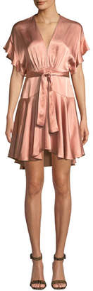 Saylor Daria Satin Dolman Mini Dress