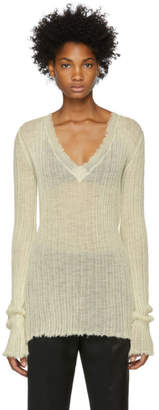 Ann Demeulemeester White Ribbed Sweater