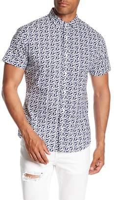 Slate & Stone Modern Fit Geometric Print Button Short Sleeve Shirt