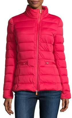 Save The Duck Asymmetric-Zip Puffer Jacket, Tango Red