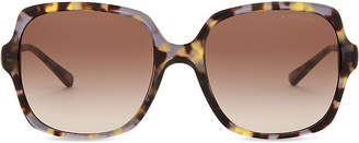 Michael Kors Ladies Brown and Grey Tort Casual Havana Bia Square Sunglasses