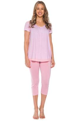 Patricia from Paris Women's 2 Piece Capri Sleepwear Pajama Set (Pink,)