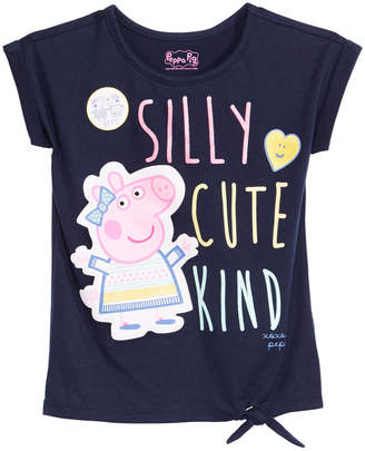 Peppa Pig Peppea Pig Little Girls Tie-Front Graphic-Print T-Shirt
