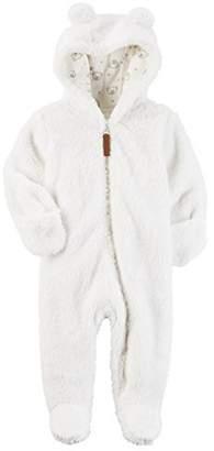 Carter's Baby Newborn-9M Hooded Sherpa Pram Sleep & Play, Ivory