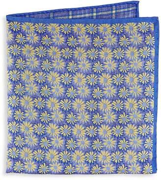 Saks Fifth Avenue Men's Silk Floral Plaid Pocket Square