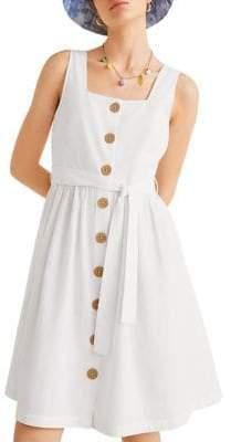 MANGO A-Line Seersucker Button-Front Dress