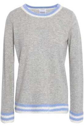 Madeleine Thompson Crochet-trimmed Melange Wool And Cashmere-blend Sweater