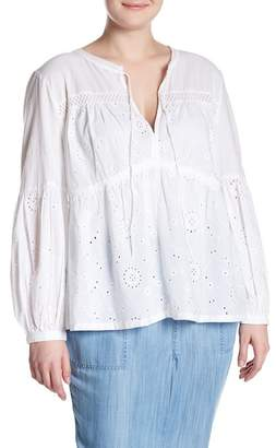 Susina Long Sleeve Schiffli Popover Blouse (Plus Size)