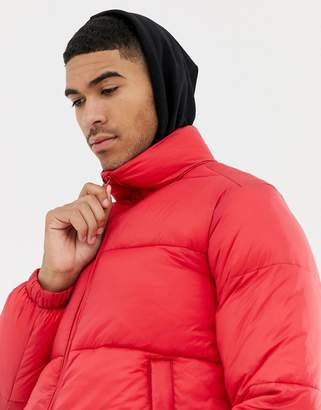 Pull&Bear puffer jacket in red