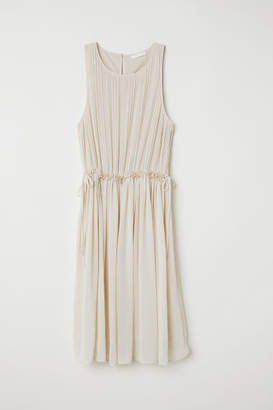 H&M Pleated Chiffon Dress - Beige