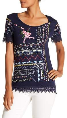 Desigual Crochet Embroidered Short Sleeve Shirt
