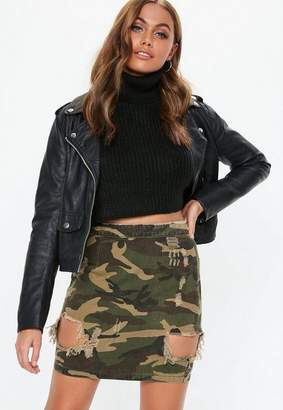 Missguided Khaki Camo Ripped Denim Mini Skirt