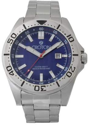 Croton Men's Stainless Bracelet Watch with Blue Dial & Rotating Bezel