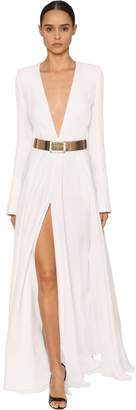 Alexandre Vauthier V Neck Viscose Twill Long Dress