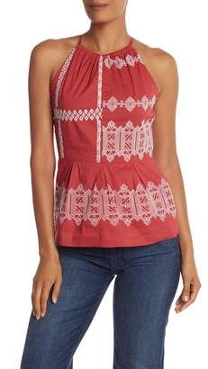 Joie Konomi Geometric Embroidery Top
