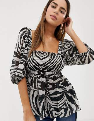 278a62ce7033 Asos Design DESIGN sheer square neck top with 3/4 sleeve in zebra animal  print