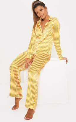 f701a11c77 PrettyLittleThing Mustard   White Stripe Wide Leg PJ Set