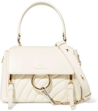 Chloé Faye Day Small Quilted Leather Shoulder Bag - White