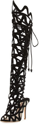 Sophia Webster Mila Suede Cutout Over-The-Knee Boot, Black $2,250 thestylecure.com