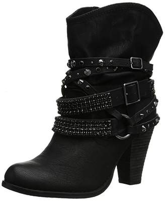 Express ED Women's Fashion Boots Faux Leather Buckle Strap Block Heel Ankle Booties( 7.5)