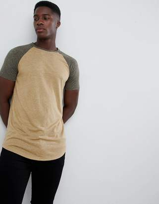 BEIGE Asos Design ASOS DESIGN longline t-shirt with curved hem and contrast raglan sleeves in linen mix in