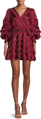 Alice + Olivia Santina Tuck-Sleeve Shirt Dress with Belt