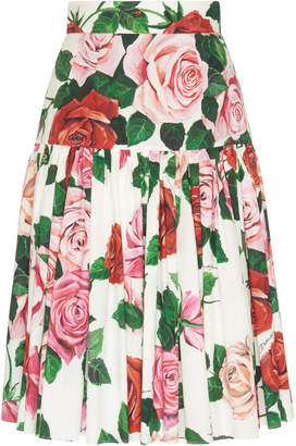 Dolce & Gabbana Ruffled Drop-Waist Floral Cotton-Poplin Midi Skirt