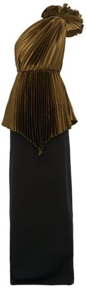 Gucci One Shoulder Pleated Charmeuse And Cady Gown - Womens - Brown Multi