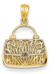 Black Bow Jewelry Company 14k Yellow Gold & White Rhodium Reversible Mom Purse Pendant