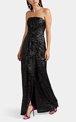 Prabal Gurung Women's Draped Sequined Strapless Gown - Black