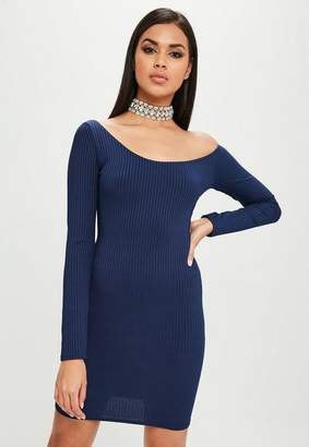 Missguided Navy Long Sleeve Ribbed Dress
