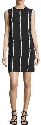Derek Lam 10 Crosby Sleeveless Striped Silk Shift Dress, Black/White $395 thestylecure.com