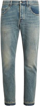GUCCI Distressed slim-leg jeans $750 thestylecure.com