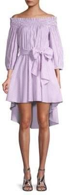 Caroline Constas Off-the-Shoulder Cotton A-Line Dress