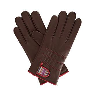 Gizelle Renee - Anna Dark Brown Leather Gloves With Brown and Mauve Braided Barcode Liberty Tana Lawn