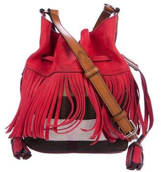 Burberry Fringe-Trim Check Bucket Bag