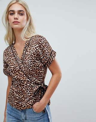 Pieces Leopard Wrap Blouse