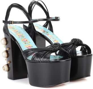 Gucci Embellished leather plateau sandals