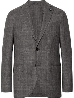 Lardini Grey Slim-Fit Unstructured Prince Of Wales Checked Stretch-Wool Suit