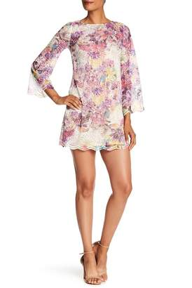 Rachel Roy Floral Bell Sleeve Lace Mini Dress