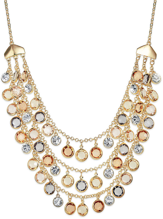 Charter Club Necklace, Gold-Tone Multi-Stone Three-Row Necklace