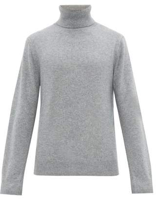 Joseph Embroidered Logo Cashmere Roll Neck Sweater - Mens - Grey