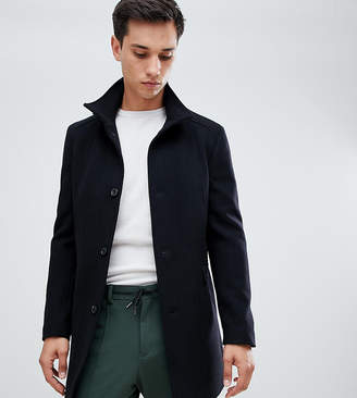Selected wool overcoat with funnel neck