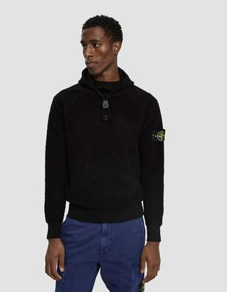 Stone Island Hooded Terry Stitch Sweater in Black