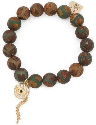 Handcrafted In California Turtle Dzi Evil Eye Bracelet