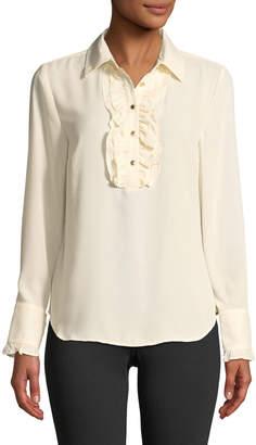 6156fbd6cba69e  21.70  62 MICHAEL Michael KorsRuffle-Trimmed Button-Front Blouse