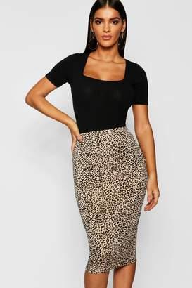 boohoo Leopard Print Crepe Midi Skirt