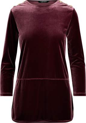 Ralph Lauren Georgette-Velvet Tunic Top