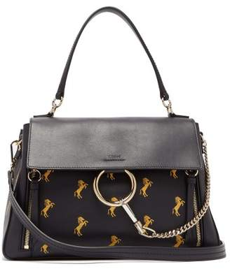 Chloé Faye Little Horses Embroidered Leather Bag - Womens - Navy Multi