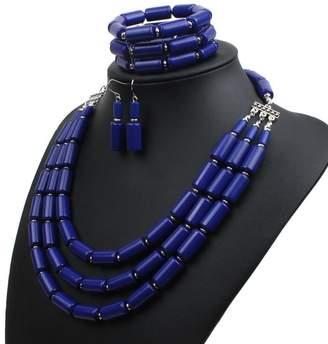 LISA.MOON Women's Fashion Handmade Bead Multilayer Statement Necklace Bracelet Earrings Jewelry Set